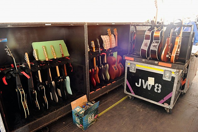 racks of guitars